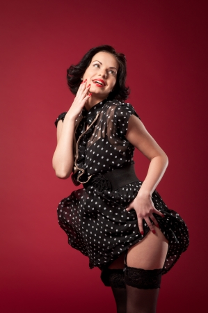 Series of  pin-up studio portraits,  Retro - style photo