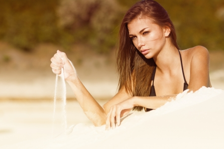Photograph of a beautiful woman on the beach Stock Photo - 14129289