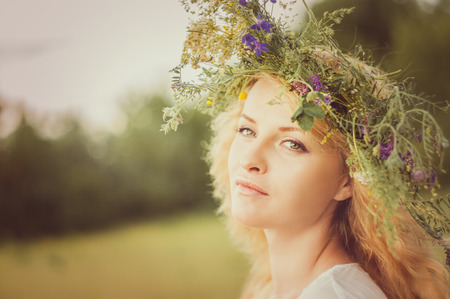 fairyland: Portrait of the young beautiful woman Stock Photo