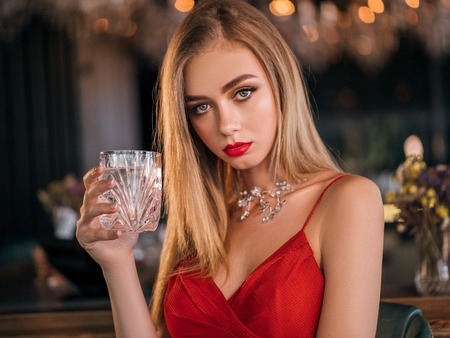 Party Photo Of Elegance Sexy Lady In Red Dress With Red Lips Stock Photo 105076508