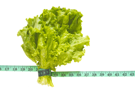 bunch of green lettuce tied with a centimeter on an isolated background