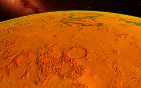Mars  Scientific illustration -  planetary landscape far away from Earth in deep space 写真素材