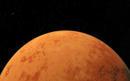 far and away: Mars  Scientific illustration -  planetary landscape far away from Earth in deep space Stock Photo