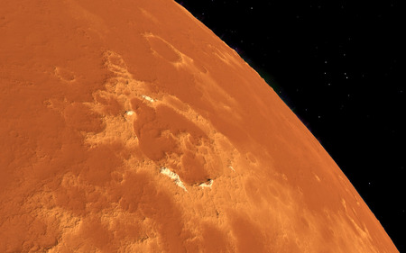 far away: Mars  Scientific illustration -  planetary landscape far away from Earth in deep space Stock Photo