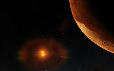 Mars  Scientific illustration -  planetary landscape far away from Earth in deep space 版權商用圖片