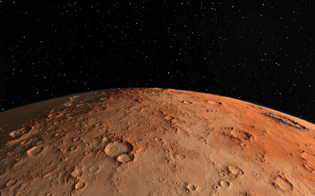 Mars  Scientific illustration -  planetary landscape far away from Earth in deep space Stock Photo