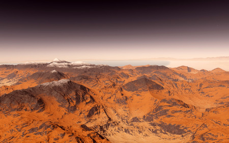 planetary: Mars Scientific illustration -  planetary landscape far away from Earth in deep space