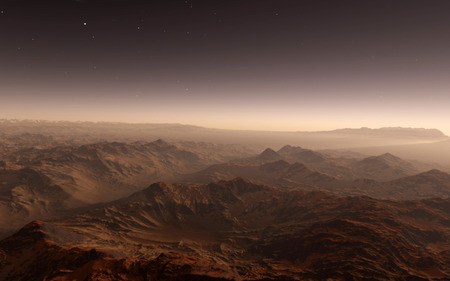 far away: Mars Scientific illustration -  planetary landscape far away from Earth in deep space