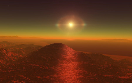 far and away: Mars Scientific illustration -  planetary landscape far away from Earth in deep space