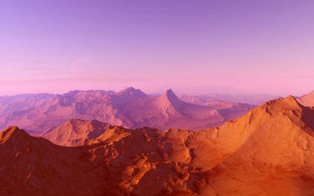 火星科学イラスト - 深宇宙で地球から遠く離れた惑星の風景
