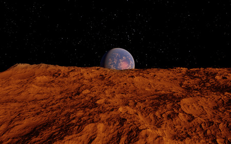 Mars Scientific illustration -  planetary landscape far away from Earth in deep space