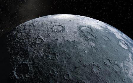 Moon scientific illustration - calm beautyful moon landscape Banque d'images
