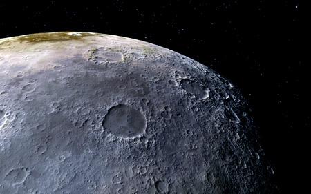meteor crater: Moon scientific illustration - calm beautyful moon landscape Stock Photo