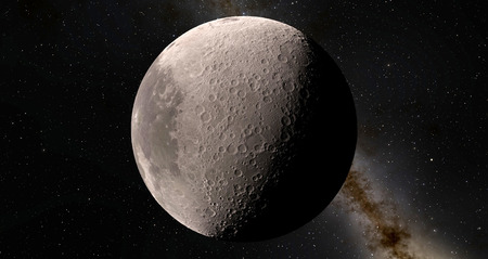 Moon scientific illustration - calm beautyful moon landscape Stock Photo