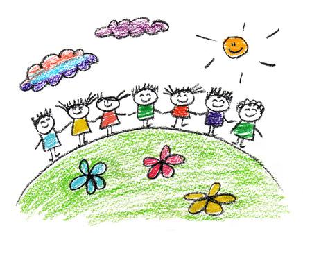 Glückliche Eltern und Kinder naive Kinder Zeichnung Standard-Bild - 38583749