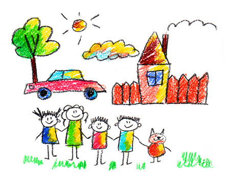 animal family: Happy parents and children naive kids drawing