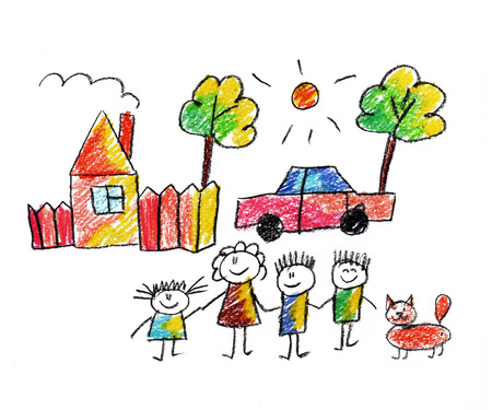 Gelukkige ouders en kinderen naïef kinderen tekenen