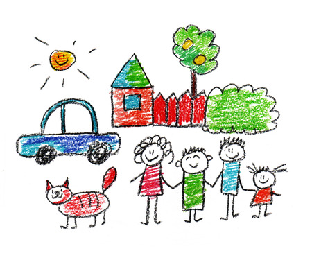 house and tree: Happy parents and children naive kids drawing