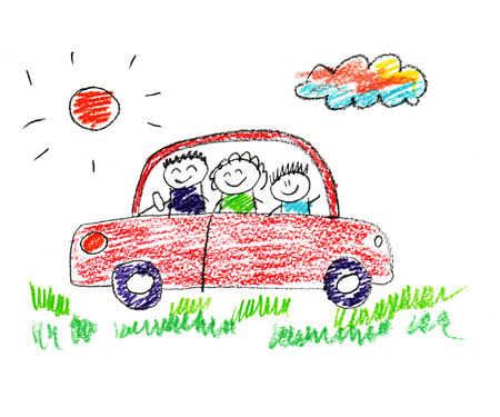 Happy parents and children naive kids drawing