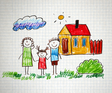 Happy parents and children naive kids drawing photo
