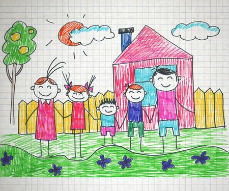 naive: Happy parents and children naive kids drawing