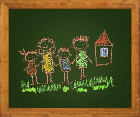 naive: Happy parents and children. Naive blackboard kids drawing