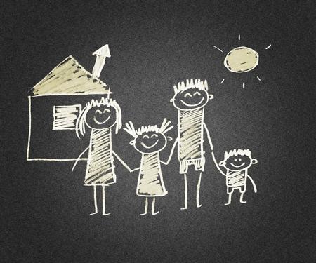 naive: Happy parents and children. Naive asphalt kids drawing