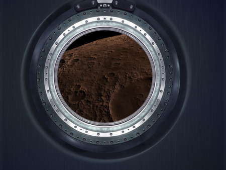 heaven and earth: Moon, Mars of alien planet landscape. View from spaceship.  Stock Photo