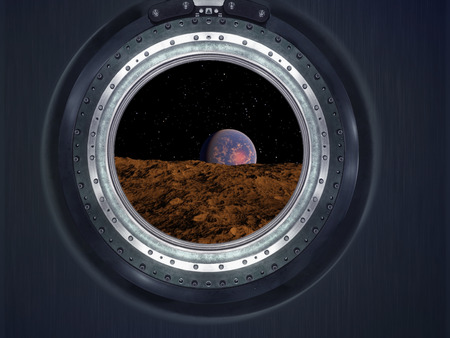 Moon, Mars of alien planet landscape. View from spaceship.  Stock Photo