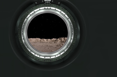 mars: Moon, Mars of alien planet landscape. View from spaceship.  Stock Photo