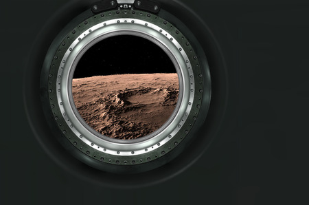 alien landscape: Moon, Mars of alien planet landscape. View from spaceship. Elements of this image furnished by NASA.