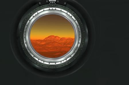 heaven on earth: Moon, Mars of alien planet landscape. View from spaceship.  Stock Photo