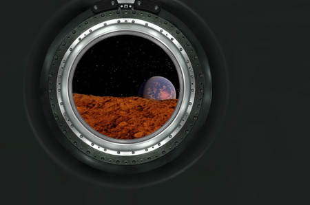 heaven on earth: Moon, Mars of alien planet landscape. View from spaceship. Elements of this image furnished by NASA.