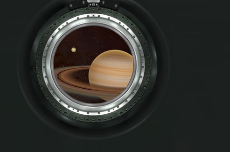 heaven and earth: Saturn or alien planet view from spaceship . Stock Photo