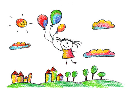 Happy girl fly with heart shaped balloons. Colorful summer picture. Kids drawing
