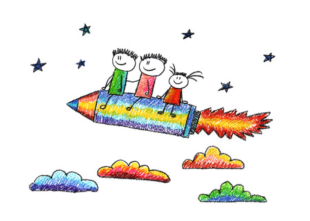 cartoon rocket: Happy kids fly on pencil shaped rocket. Colorful picture. Kids drawing