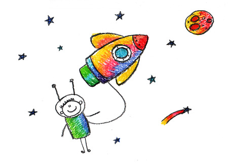 Happy boy with rocket. Colorful summer picture. Kids drawing 免版税图像