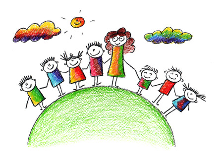 Happy kids. Colorful summer picture. Kids drawing