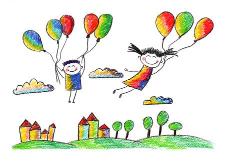 행복 한 아이. 다채로운 여름 사진. 어린이 그리기