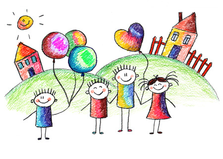 Happy kids with teacher. Picture with sun and clouds Standard-Bild