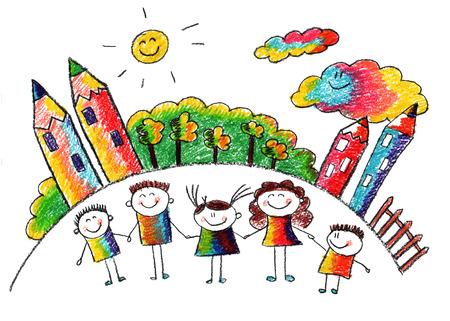 Crianças felizes com o professor. Imagem com sol e nuvens Foto de archivo - 39017931