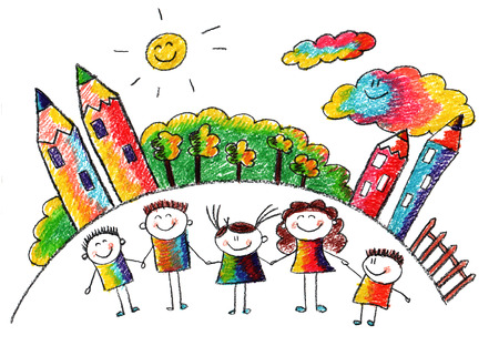 Happy kids with teacher. Picture with sun and clouds Stock Photo