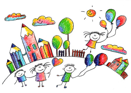Happy kids play with ballons. Colorful summer picture. Kids drawing