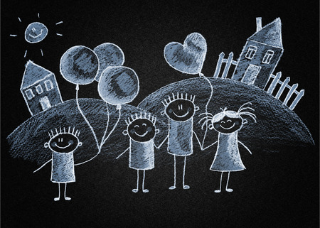 Happy kids . Blackboard or asphalt drawing photo