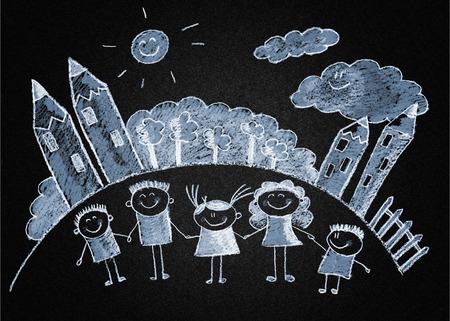 multinational: Happy kids with teacher. Blackboard or asphalt drawing