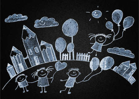 Happy kids play with ballons. Blackboard or asphalt drawing photo