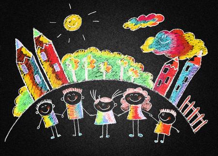 multinational: Blackboard or asphalt kids drawing. Color chalks