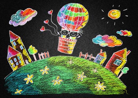 Blackboard or asphalt kids drawing. Color chalks