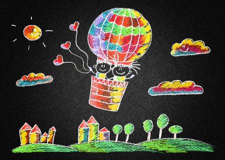 chalks: Blackboard or asphalt kids drawing. Color chalks