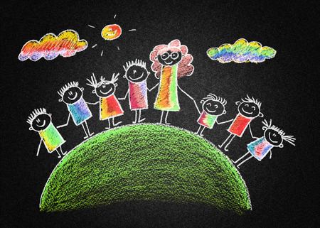 Blackboard or asphalt kids drawing. Color chalks photo